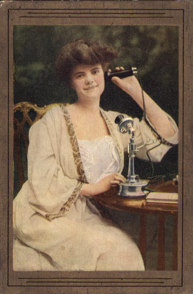Woman Holding Old-Style Telephone